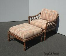 Vintage Mid Century Modern McGuire Bamboo Rattan Accent Chair and Ottoman