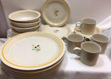 Vintage Epoch Riviera Light & Bright Porcelain China Set 20 Pieces Flowers Korea