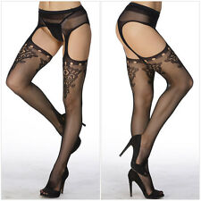 Sexy Womens Lace Top Sheer Tight Slim Net Lace Embroidery Transparent Stockings