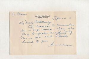 Upton Sinclair: Handgeschriebener Brief mit Unterschrift (1951).