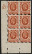 1934-6 2d PHOTOGRAVURE CONTROL BLOCK OF SIX M/MINT. SG 442
