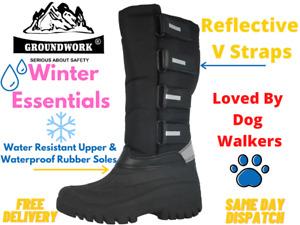 Ladies Groundwork Black Canvas V Straps Fleece Wellies Yard Rain Snow Boots