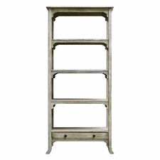 Cottage Aged White Solid Wood Etagere | Standing Book Shelves Ivory Farmhouse