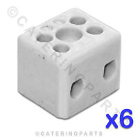 6x CERAMIC HIGH TEMPERATURE ELECTRICAL CONNECTOR BLOCKS 2 POLE 10mm 57A