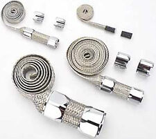 Universal Stainless Braided Hose Cover Kit W/ Chrome Clamp Covers Hot Rod V8