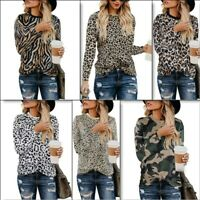 Womens Shirt Top Crew Neck Blouse Ladies Leopard Print Casual T-Shirt Pullover