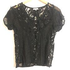 Sundance Catalog Blouse Size Small Sheer Embroidered Lace Black Short Sleeve