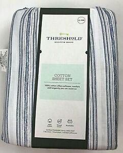 Threshold Blue White Stripe Grover Sheet Set XL Twin 3 pc Fitted Flat Pillowcase