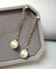 Faux White Pearl Drop Earrings Crystal Long Stud Wedding Bride Bridesmaids