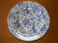 "Staffordshire Engravings BIRD OF PARADISE Set of 3 Dinner Plates 10 5/8"" Blue"