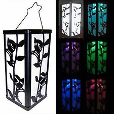 Reflection Hummingbird and Plant Lantern Color Change Solar Light