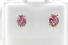 14k Yellow Gold Oval Pink Natural Sapphire 0.40ct Stud Push Back Post Earrings