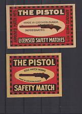 Ancienne étiquette de paquet allumettes Tchécoslovaquie  AD40  Pistolet