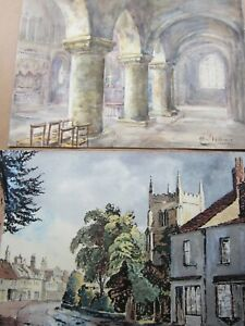 2 Vintage SIGNED Watercolour Painting's c.1940s, Architectural & Street Scene