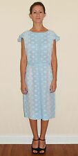 Vintage 50's 60's  Light Blue Eyelet Lace Wiggle Dress by Henry Lee Size Large