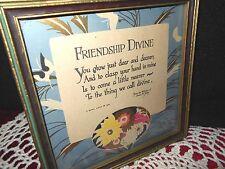 1927 Framed Buzza Motto Poem Print FRIENDSHIP Mid-Century JAMES FOLEY Home Decor