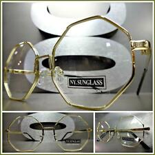 New CLASSIC VINTAGE RETRO Style Clear Lens EYE GLASSES Small Gold Octagon Frame