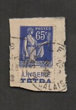 France #271, used, with Tetra lingerie ad in selvage. On piece, Calais CDS