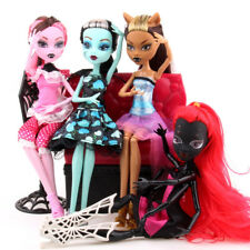 4Pcs Monster High Doll Lot Set Dolls Draculaura Lagoona Wolf Mattel Clothes Gift