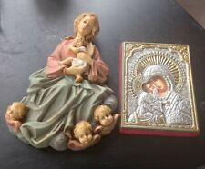 More details for mother and baby. mary and jesus. 2 plaques. christmas nativity style. italian