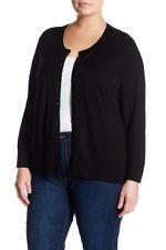 Susina Women's Plus 3X Black 3/4 Sleeve Button Front Cardigan Sweater NWT