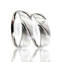 2 Trauringe 925 Silber mit echtem DIAMANT GRAVUR+Etui Eheringe PR36-D
