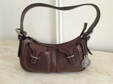 KENNETH COLE REACTION BROWN REAL LEATHER MICRO SHOULDER HANDBAG.