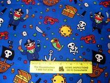 PIRATES  LIFE  ON  BLUE   Cotton Fabric  By Yard