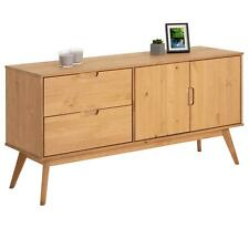 Buffet commode style scandinave 2 tiroirs 2 portes en pin massif bois teinté