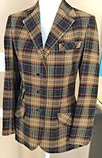 Cravats Bespoke Women's A Equestrian Riding Blazer Brown Plaid S/8 100% Wool