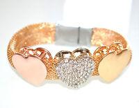 BRACCIALE donna ORO strass CUORI oro rosa rigido regalo san valentino 985