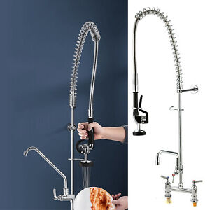 """Commercial Kitchen Pre-Rinse Tap Faucet Spray Arm Takeaway w/ 7"""" Add-On Faucet"""