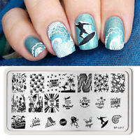 BORN PRETTY Nail Art Stamping Image Plate Template Stamp Summer Beach BP-L017