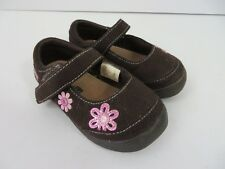 Smartfit Toddler Mary Jane Shoes Brown w Pink Flowers Size 5 #699