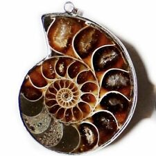 Handmade Huge 100% Genuine Ammonite Fossil Gemstone Silver Necklace Pendants