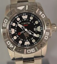 New Mens Invicta 20183 Sea Base Swiss GMT Black Dial Stainless Steel Watch
