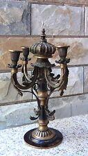 Antique 19c German Bronze Ornamental Crown Finial 4 Candlestick Holder