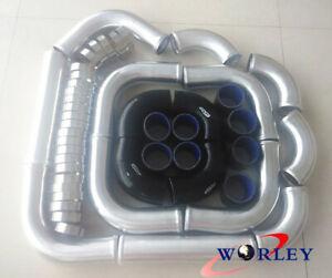 "2.5"" 64mm Aluminum Universal Intercooler Turbo Piping pipe + Black hose kits"