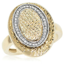 Diamond Oval Cocktail Right Hand Ring 14K Yellow Hammered Textured Gold Pave