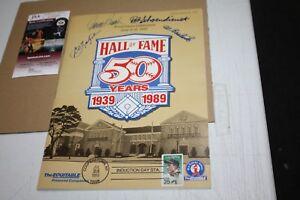 1989 Baseball HOF 50 YEARS PROGRAM SIGNED BY Bench, Yaz, Schoendienst, Barlick
