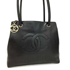 CHANEL CC Logo Lambskin Shoulder Tote Bag Black /p328