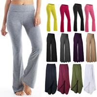 Womens Yoga Pants GYM Athletic Flare Stretch Casual Comfy Soft Wide Leg Leggings