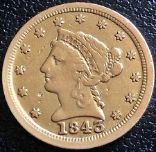 1843 C Quarter Eagle $2.5 Gold Liberty Head Rare Date CHARLOTTE VF #20670