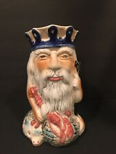 """Vintage Large Toby Jug FATHER NEPTUNE 10"""" Unmarked Manner of Staffordshire"""