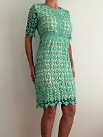 Green Floral Crochet Short Sleeve Midi Formal Cocktail Evening Dress 12-14-16