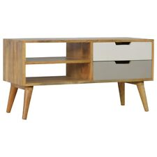 Modern Style Solid Wood TV Stand Media Unit | Grey Tone 2 Drawers & 2 Shelves