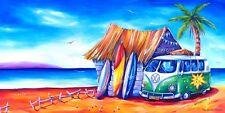 Surf Club Kombi Beach Surfboard Shack Stretch Canvas Print 100cm Australia