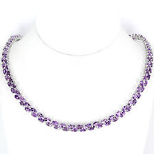 Sterling Silver 925 Fancy Genuine Natural Amethyst Two Row Necklace 18 Inches