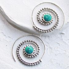 Türkis Creolen Durchzieher Ohrringe Silber 925  Ohr Spirale Vintage Hippie  STS
