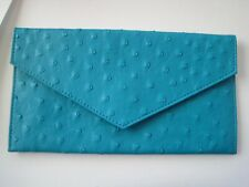 "Bliss Wallet Ostrich Teal Envelope Leather 8.5"" x 4.5"""